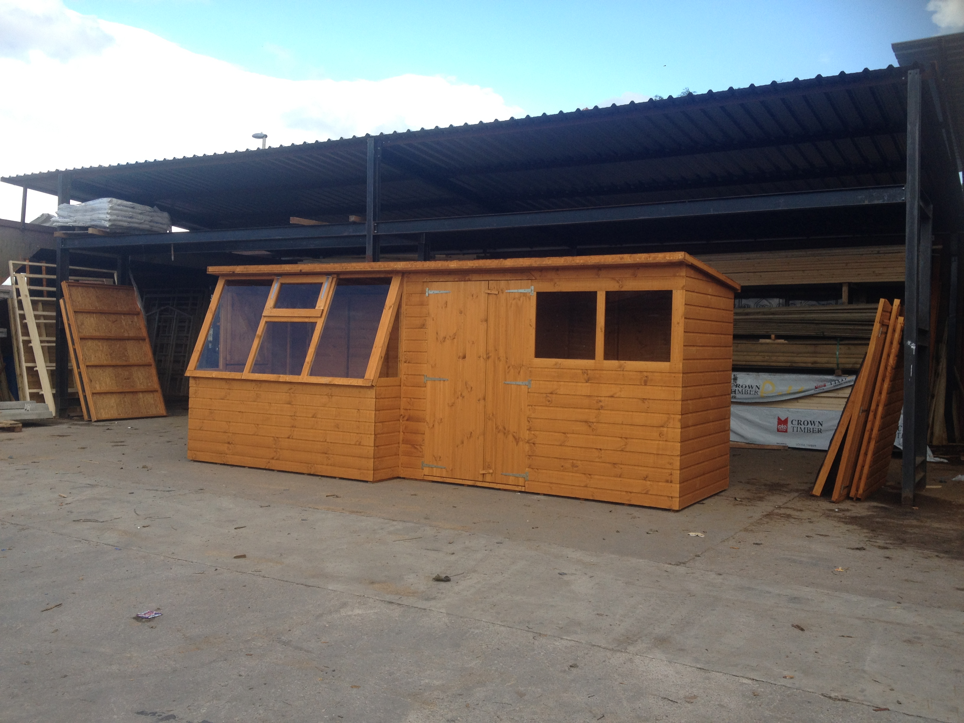 sheds shed in window stores wooden rook greenhouse potting thermowood swallow htm