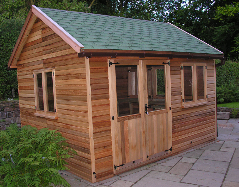 Westernred cedar wood garden sheds and summerhouses for Cedar garden office